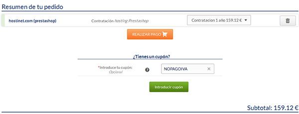 Hosting PrestaShop página de pedido en Hostinet