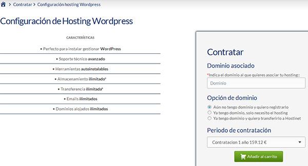 Contratar Hosting WP con Hostinet