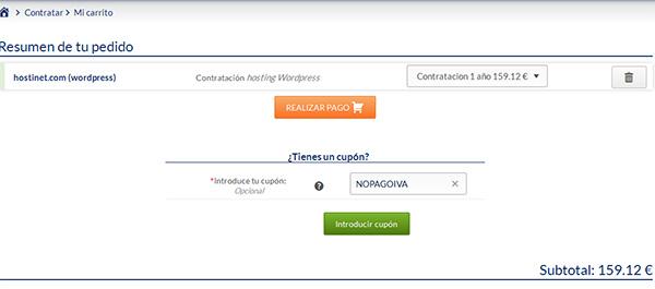 Hosting WordPress página de pedido en Hostinet
