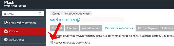 Activar Respuestas Automaticas en Plesk para cuentas de correo