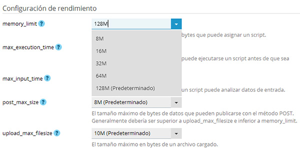 Plesk - Configuración de PHP - Memoria PHP 128
