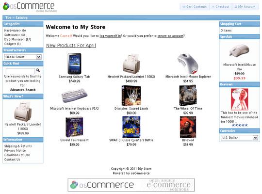 Site creado con osCommerce