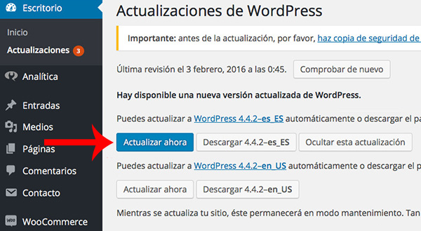 WordPress Versión 4.4.2 Escritorio