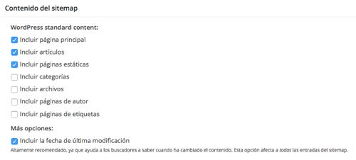 contenido sitemaps en Google XML