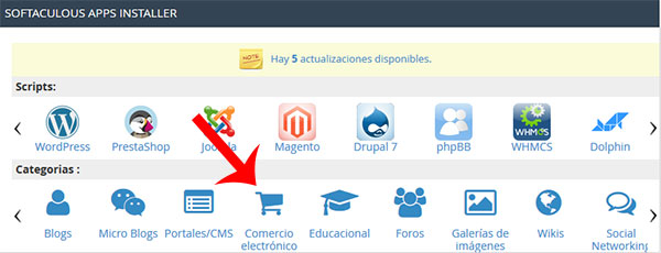 Categoría de comercio electrónico en cPanel (Softaculous)