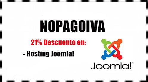 Cupón descuento nopagoiva en Hosting Joomla con Hostinet