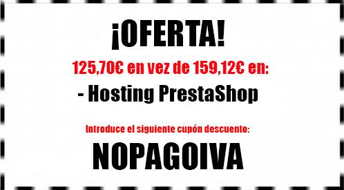 cupón descuento nopagoiva para beneficiarse de una oferta en hosting prestashop con hostinet