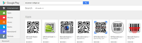 Google Play - busqueda: escanear codigos qr-apps