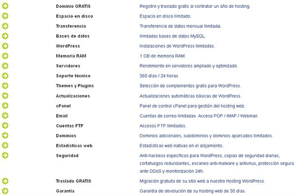 Características del Hosting WordPress de Hostinet