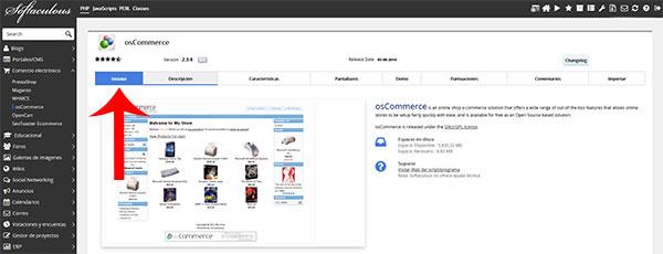 osCommerce instalar desde Softaculous