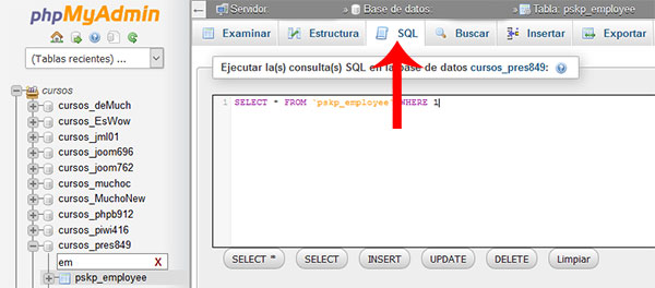 phpmyadmin Tabla employee SQL