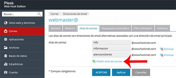 Añadir varios alias de correo en Plesk