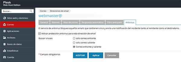 Activación de Servicios Antivirus para correos de Plesk