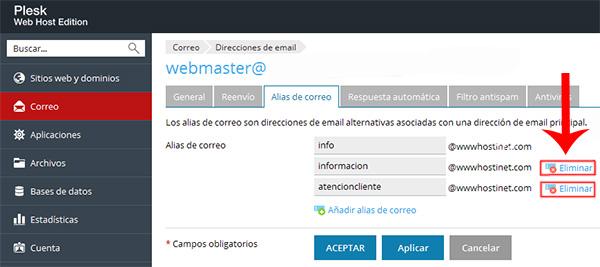 Eliminar alias de correo en Plesk