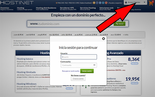 Hostinet acceso clientes