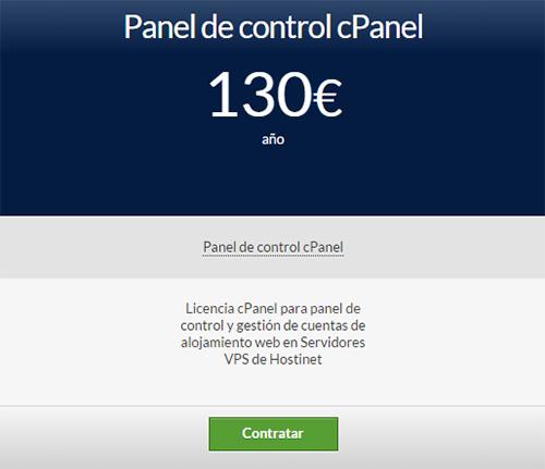 Hostinet licencia cPanel por 130 euros al año