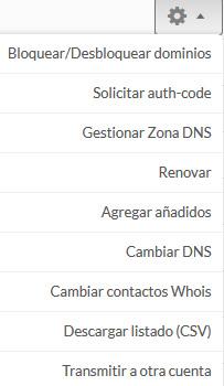 panel de gestión dominios genéricos