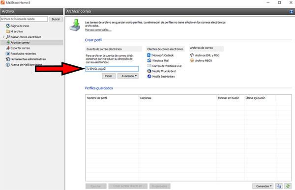 MailStore -> Poner Email para Archivar Correo