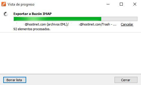 MailStore -> Exportar Buzon IMAP Barra Progreso