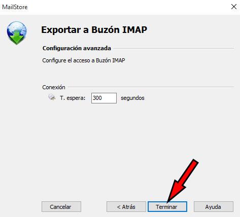 MailStore -> Exportar Buzon IMAP Terminar