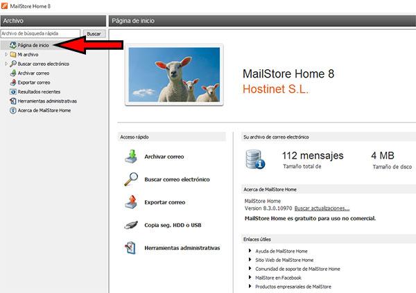 MailStore -> Pagina Inicio