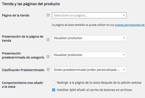 WordPress Tienda y las paginas del producto
