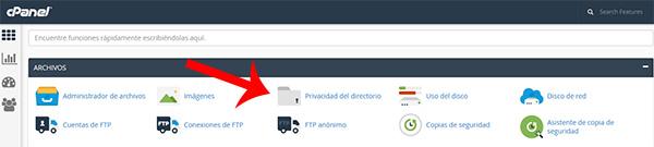 cPanel archivos privacidad directorio