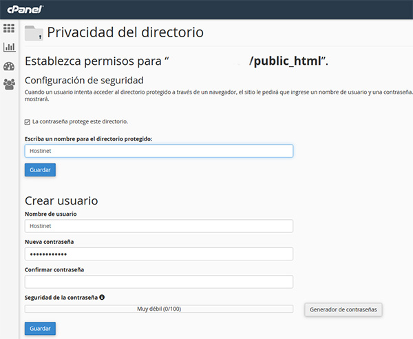 cPanel privacidad directorio public_html