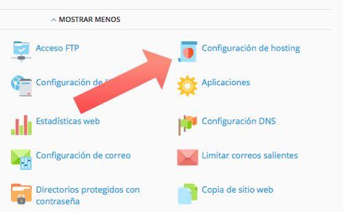 configuracion hosting en Plesk