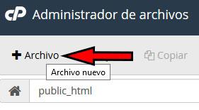 cPanel -> Administrador de Archivos -> Nuevo Archivo