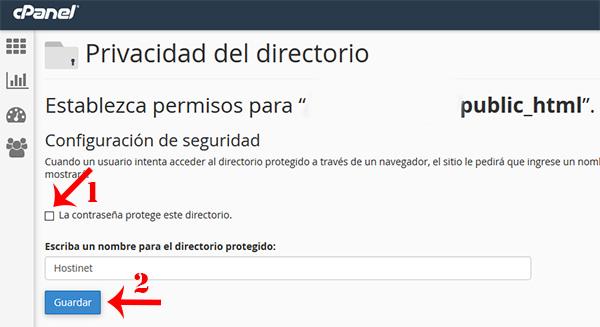 cPanel quitar privacidad directorio