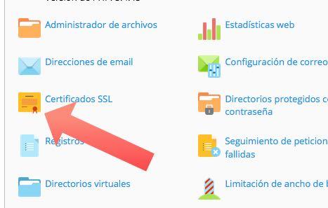 icono certificado ssl en Plesk
