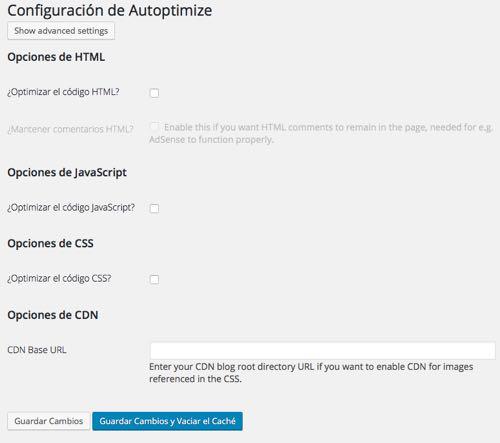 opciones configuracion  Autoptimize en WordPress