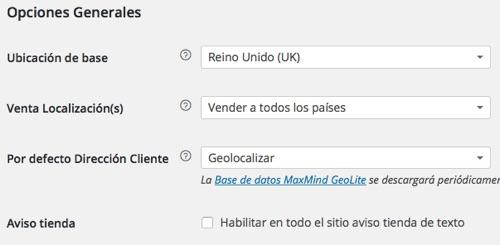 WordPress opciones generales woocommerce