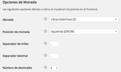 WordPress opciones moneda woocommerce