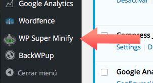 opciones wp super minify para WordPress