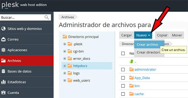 plesk admin archivos - nuevo archivo