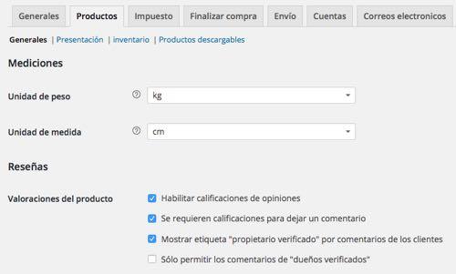 WordPress productos generales woocommerce