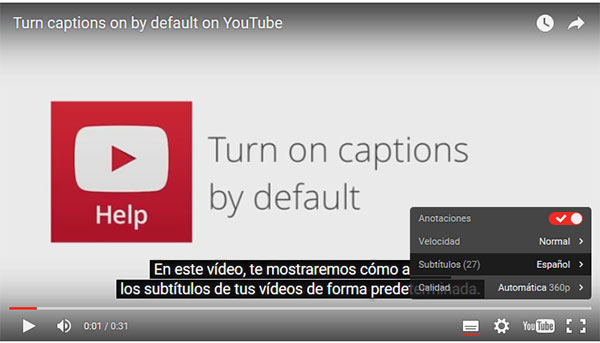 YouTube Configuración Subs