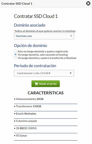 Hostinet SSDCloud1 Contratar