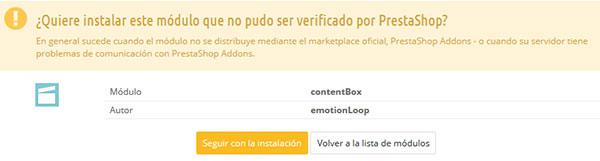Aviso en la instalación de ContentBox