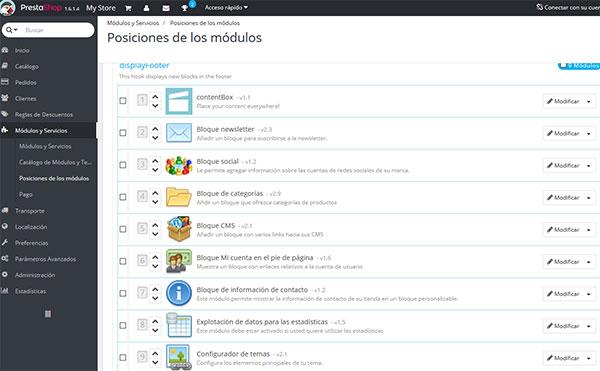 ContentBox Posición Módulos