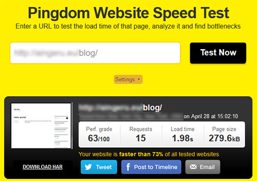 Pingdom Tools Speed Blog WordPress PHP 5.6