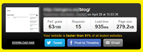 Pingdom Tools Speed Blog WordPress PHP 7