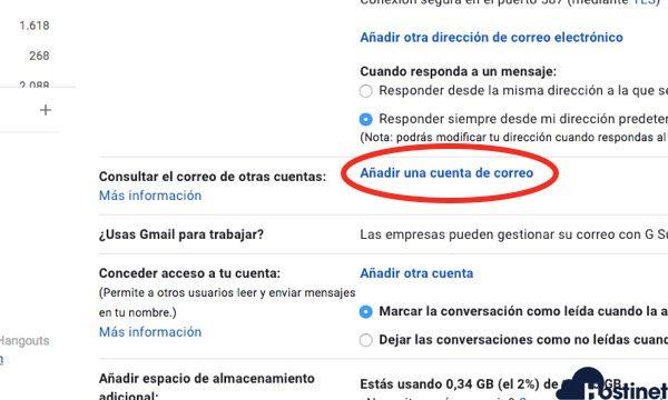 anadir cuenta correo externa gmail POP correo externo