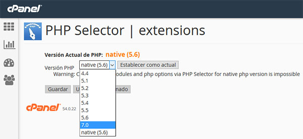 cPanel - PHP 7 Selector
