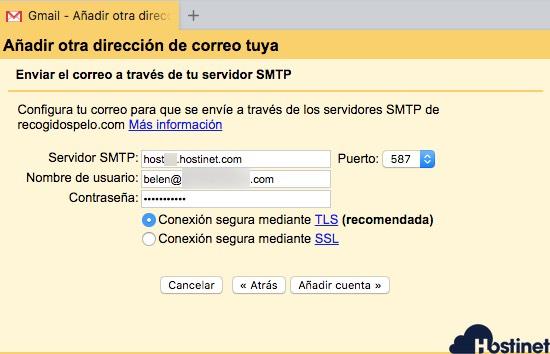 datos smtp gmail configuración email corporativo en gmail