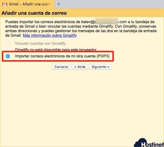 importar email pop para configurar cuenta externa de email en gmail
