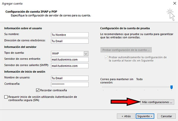 outlook2016 +configuraciones