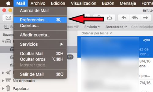 preferencias Mail Mac OS X